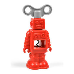 Fred and Friends - Robottle - Corkscrew - Meet RoBottle, the sommelier of the future. His working parts include an extra-long steel corkscrew and a hidden blade for stripping off that pesky foil. Now if we could only teach him to do dishes! RoBottle is molded from durable, dishwasher-safe engineered plastics.