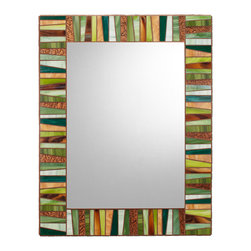 "Mosaic Mirror - Green & Brown (Handmade), 30"" X 24"", Vertical - MIRROR DESCRIPTION"