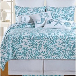 C and F Enterprises Cora Bedding Set - Blue - The Oceanside freshness of this C and F Enterprises Cora Bedding Set - Blue will refresh your master bedroom. This quilt and bedding collection has an ocean blue coral pattern against a sea of white. The quilt reverses to a seashell pattern in the same colors. This luxurious bedding set is crafted of natural cotton and is machine-washable. Customize the set by adding coordinating pillow shams and a variety of plump decorative throw pillows. It comes in your choice of size.Quilt Dimensions:Twin: 86L x 66W inchesFull/Queen: 92L x 90W inchesKing: 108L x 92W inches