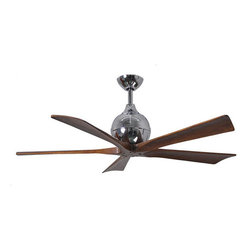 Matthews Fan Company - Irene-5 - Ceiling Fan | Atlas Fans - Cutting a figure like no other, the Irene-5 is rustic, yet strikingly modern.Irene-5 is inspired by the golden age of aviation with five neatly joined propeller-shaped, solid walnut-stained wooden blades. A spherical motor housing complements its minimal profile. Irene-5 is streamline while still appearing warm and natural.Manufacturer:�Atlas Fan CompanySize: 9�in. height x 52 in. diameter x Various downrods length�available - field cuttable.�Canopy 6 in.Certifications: UL