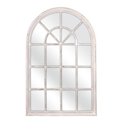IMAX - Molina Arched Window Pane Mirror - Punctuate your space with this sleek mirror featuring a durable construction, graceful colonial arch and pristine glass.   28.25'' W x 34.25'' H x 8'' D 60% wood / 30% glass mirror / 10% medium-density fiberboard Imported