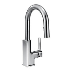 STo chrome one-handle high arc pulldown bar faucet - It's what you don't see that makes all the difference. The pulldown wand blends seemlessly into the slim faucet neck that keeps modern conveniences concealed. Precision lines from top to bottom create a style that can be carried throughout contemporary kitchens.
