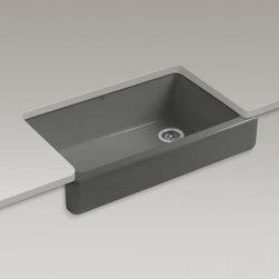 KOHLER - KOHLER K-6488-58 Whitehaven Self-Trimming Apron Front Single Basin Sink - KOHLER K-6488-58 Whitehaven Self-Trimming Apron Front Single Basin Sink with Short Apron in Thunder Grey
