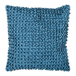 """Surya BB038-2222D 100% Poly 22"""" x 22"""" Decorative Pillow - This pillow brings texture to any space. With a looped design, this decorative pillow adds a bit of fun to you room. The color blue accents this pillow. This pillow contains a down fill and a zipper closure. Add this 22"""" x 22"""" pillow to your collection today. Filler: Down Feathers. Shape: Square."""