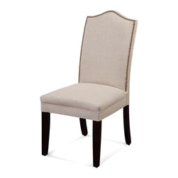 Bassett Mirror - Camel Back Parsons Chair - Set of 2 - Set of 2. Wooden legs. Natural linen upholstery. 20 in. W x 18 in. D x 44 in. H