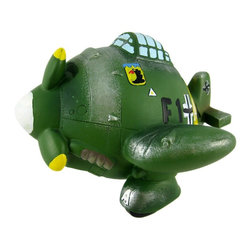 German WWII Fighter Plane Piggy Bank Money Coin - This funny green and yellow camouflage cold cast resin American WWII fighter plane money bank is a real eye-catcher. The plane features a German eagle near the cockpit, yellow tips on the prop, and has a politically incorrect symbol on the tail. The plane measures 4 1/4 inches tall, 6 1/4 inches long and 6 inches wide. The bank empties via a twist-off plastic piece on the bottom. It is hand-painted.