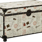 Coaster - Storage Trunk, Off-White - A great addition to any room, this storage trunk has a unique printed exterior with reinforced corners and edges in black. Decorative nailhead trim, along with sturdy side handles and a closure clasp give this a stylish appeal.