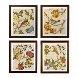 Ballard Designs - Antique Aviary Giclee Prints - High-quality reproduction. Rubbed chocolate wood frame with antique gold inset. Made in America. Artist Chariklia Zarris began her career designing textiles. The soft cream background in these jewel-toned bird studies appears textured like vintage fabric. Each image is digitally printed on fine art paper to bring out its rich colors and visual texture. Every print is hand signed and numbered to make it even more special.Antique Aviary Giclee Print features: . . .
