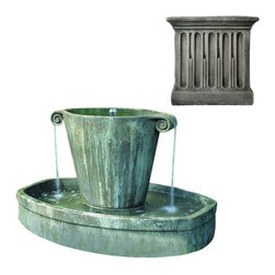 Campania International - Anfora Fountain - Alpine Stone (AS) - The Anfora Fountain (FT-67) from Campania International, with its elegant shape and soothing sound, is a welcome addition to the garden. Made of cast stone. Pump Included. Shown in Copper Bronze (CB)