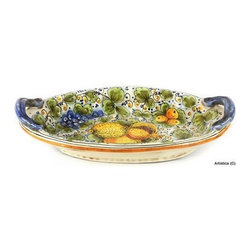 Artistica - Hand Made in Italy - Tuscania: Oval Bowl with Two Handles - Tuscania Collection: