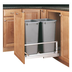 "Rev-A-Shelf - Rev-A-Shelf 5349-2150DM-217 Double 50 Qt. Soft Close Pullout Waste Bin - Silver - Are you looking to reduce clutter and spruce up your kitchen? Need a wastebasket that will not only hold a lot of garbage but not take up too much space? The Bottom Mount Double 50 Quart Silver Pullout Waste Container Cabinet Organizer might be precisely what you're looking for. This pullout not only saves you space in your kitchen, but it looks great as well. The two included waste containers have a capacity of fifty quarts each, meaning you won't have to empty them as often as most trash cans. They're also removable, making cleaning underneath them a cinch. Additionally, the unit itself is well constructed, featuring a sturdy aluminum frame, 100lb rated full extension soft close slides, and a fully-adjustable door mount kit to mount your cabinet door to the waste container . If you are looking to beautify your kitchen and free up space, the Rev-A-Shelf 5349-2150DM-217 is exactly what you need. Physical specifications: 14-13/16"" W x 22-1/8"" D x 22-15/16"" H. Please make sure your cabinet has an minimum opening of at least 15""W x 22-1/4""D x 23-1/8""H to ensure a proper fit."