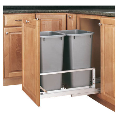 """Rev-A-Shelf - Rev-A-Shelf 5349-2150DM-217 Double 50 Qt. Soft Close Pullout Waste Bin - Silver - Are you looking to reduce clutter and spruce up your kitchen? Need a wastebasket that will not only hold a lot of garbage but not take up too much space? The Bottom Mount Double 50 Quart Silver Pullout Waste Container Cabinet Organizer might be precisely what you're looking for. This pullout not only saves you space in your kitchen, but it looks great as well. The two included waste containers have a capacity of fifty quarts each, meaning you won't have to empty them as often as most trash cans. They're also removable, making cleaning underneath them a cinch. Additionally, the unit itself is well constructed, featuring a sturdy aluminum frame, 100lb rated full extension soft close slides, and a fully-adjustable door mount kit to mount your cabinet door to the waste container . If you are looking to beautify your kitchen and free up space, the Rev-A-Shelf 5349-2150DM-217 is exactly what you need. Physical specifications: 14-13/16"""" W x 22-1/8"""" D x 22-15/16"""" H. Please make sure your cabinet has an minimum opening of at least 15""""W x 22-1/4""""D x 23-1/8""""H to ensure a proper fit."""