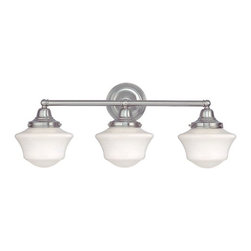 Design Classics Lighting - Schoolhouse Bathroom Light with Three Lights in Satin Nickel - WC3-09 / GC6 - Satin nickel finish bathroom vanity light with Ballard schoolhouse style opal white glass. Takes (3) 60-watt incandescent A19 bulb(s). Bulb(s) sold separately. UL listed. Dry location rated.