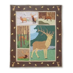 Patch Magic - Brown Elk Throw - 50 in. W x 60 in. L. 100% Cotton. Handmade, hand quilted. Machine washable. Line or flat dry only