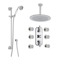 "Hudson Reed - Traditional Chrome Shower System Set With 12"" Head Ceramic Handset & 6 Body Jets - Supplied with the triple thermostatic shower valve, 12"" round fixed head with arm, slide rail kit and six round body jets, this shower system from Hudson Reed is perfect for enhancing any traditional bathroom."