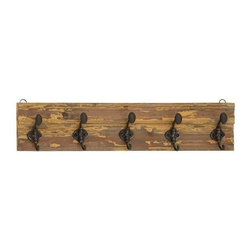 Benzara - Classic Wooden Vintage Themed Wall Panel and Metal Hooks - Classic Wooden Vintage Themed Wall Panel and Metal Hooks. This vintage themed wall hook will add a touch of classic appeal to your modern home. This wall panel is made from wood. Some assembly may be required.
