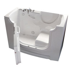 "Meditub - Meditub 3060WCA 30"" x 60"" x 42"" Gel Coat White - The WCA3060 is Wheel Chair Accessible. It is designed with a 21 contoured seat permitting the ability to slide in with ease. This roomy and palatial tub is assembled with an outward swinging door. It provides the luxury of bathing and showering alone all while maintaining security and independence. The tub is constructed of the highest grade fiberglass and composites with a gel coat finish for beauty and durability. Included is a stainless steel frame for long lasting strength and adjustable for easy installation and leveling. Go Ahead! Take the plunge and enjoy a luxurious bathing experience!"
