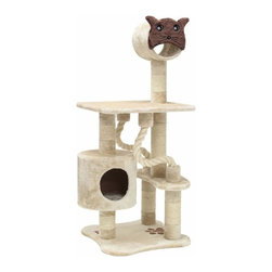 """MAJESTIC PET PRODUCTS - 49"""" Casita Cat Tree - This faux fur cat tower features several rope toys and an elevated tunnel for your cat's amusement. She can take a nap in the kitty house with its porthole entrance or supervise the action from the lookout platform. Easy for humans to assemble."""