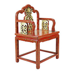 Consigned Antique Chinese Carved Red Lacquer Chair - A beautiful antique hand-carved Chinese red and gold lacquer armchair with gilt dragon motif on arms and back. Seat painted with a landscape of mountains and temples.