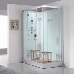 Atlas International Inc - Steam Shower (Left) - Ariel Platinum (White) - These fully loaded steam showers include massage jets, ceiling and handheld showerheads, chromotherapy, aromatherapy and built in radios to help maximize the therapeutic experience. This steam shower is the left sided version