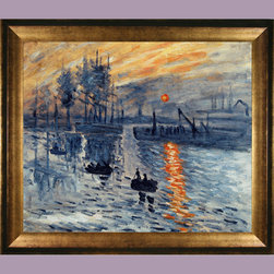 overstockArt.com - Monet - Impression, Sunrise - Add color and awe to your home with a hand recreated oil painting of Monet's Impression, Sunrise . Originally painted in 1872, this classic image has been recreated in great detail to near perfection. Add sophistication to any room with this beautiful painting, and choose one of our museum-quality frames to give it an extra classic look in your home. You'll be happy you chose this over a print! Detail for detail, it looks almost exactly like the original. Your guests will love your new colorful edition!
