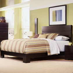 Home Image - Madrid Platform Bed - This Low profile bed features a bolt on rail system to add to the stability and strength of bed and support system. Features: -Rich walnut finish. -Bolt on rail system. -Three Slats. -1 Year warranty.