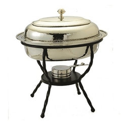 Old Dutch International - Oval Polished Nickel over S/S Chafing Dish, 6 Qt. - Having a chafing dish is like having another set of hands. It keeps your appetizers or side dishes warm while you get on with the rest of your party. This beautiful, 6-quart chafing dish belongs on your sideboard or dining table. It keeps food at the perfect temperature so it never dries out.