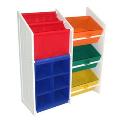 RiverRidge Kids Super Storage with 3 Colored Bines, Book Holder and 6 Slot Cubby - An all-in-one storage solution, the RiverRidge Kids Super Storage with 3 Colored Bins, Book Holder and 6 Slot Cubby is perfect for storing toys, books, and other small items. The angled book holder is the ideal size for holding larger picture books, and the cubbies keep your child's shoes or smaller toys separated and organized. The three bins are set at a slight angle to keep toys off the floor but easy to reach.