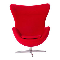 """LexMod - Glove Wool Lounge Chair in Red - Glove Wool Lounge Chair in Red - The Glove Chair provides evidence of movement in design to adapt more organic forms into our living spaces. Designed to remind us of the natural world, this chair provides sheer comfort and relaxation. Get back to nature with the Glove Chair. Set Includes: One - Glove Chair in Woolen Mix Upholstered in Wool, Aluminum Rotating Base, Re-enforced Fiberglass Frame Overall Product Dimensions: 31.5""""L x 35""""W x 42.5""""H Seat Height: 16""""H Armrest Height: 27""""H - Mid Century Modern Furniture."""