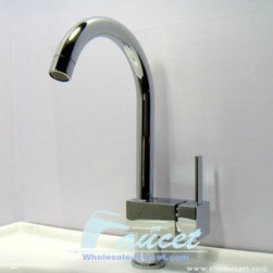 Modern Style Single Handle Chrome Kitchen Faucet - Features: