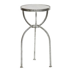 Prima Design - Three-Legged Square Tube Accent Table in Silver Leaf with a White Granite Top - This accent table does just that, accents a room with a one-of-a-kind style and decor, bringing a contemporary touch to any room.