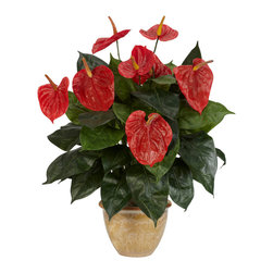 """Nearly Natural - Anthurium w/Ceramic Vase Silk Plant - With its vibrant red blooms, and cascading arrangement of leaves, this is one display that will stand out anywhere.  At 22.5"""" tall, this plant is beautiful and worthy of the attention its sure to receive.  With its bright colors, you would almost swear that it was real if you didn't know better (but why would you have to tell anyone otherwise)? Its detailed ceramic vase display only helps to enhance the arrangement."""