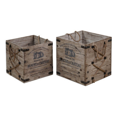 """Uttermost - Uttermost Bouchard Crates Set of 2 19782 - Lightly stained, rustic solid fir wood with wrought iron metal and hemp rope details. Small size: 14""""W x 14""""H x 14""""D, Large size: 16""""W x 16""""H x 16""""D."""