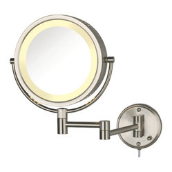 Dual Sided 8x Wall Mount Halo Lighted Mirror