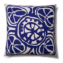 5 Surry Lane - Indoor Outdoor Modern Floral Decorative throw Pillow, Navy, 20x20, Contemporary - Modern floral indoor outdoor pillow.  Add a bright pop of color to your deck or patio.  100% soft polyester.  Water resistant.  Mold and mildew resistant.  Withstands UV rays.  Down insert included.  Hidden zipper closure.