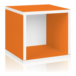 Way Basics - Way Basics Storage Cube, Orange - Think inside the box! Create more space in close quarters with stackable modular storage cubes. Simple no-tool construction — just peel and stick — means you can build 'em in nothing flat. They're durable, versatile and formaldehyde- and VOC-free.