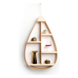 Mid-Century Teardrop Shelf - Make a statement on your wall with the Mid-Century Teardrop Shelf. It doubles as convenient, creative storage, with shelving space for frames, decorative plants, and other knick-knacks. Handmade in Maine with extra care, you'll enjoy this stylish piece for years to come!