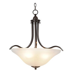 """AF Lighting - AF Lighting Sanibel Collect. Oil Rubbed Bronze Four-Light Hanging Pendant Lamp - This is a brand new pendant light from AF Lighting (model # 617270). Sanibel light fixtures offer exceptional looks, extraordinary convenience, and state-of-the art performance. Sanibel fixtures serve as the inspiration for updating any room in your home. The majestic curves of this four-light pendant lend elegance to any décor. It features an oil rubbed bronze and frosted glass. Uses (4) 60 W medium base bulbs (not included). Pendant measures 21"""" W by 22"""" H. This pendant retails for $227.45"""