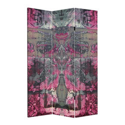 Oriental Furniture - 6 ft. Tall Double Sided Pink Cosmic Debris Canvas Room Divider - A tantalizing composition reminiscent of galaxies, tie-dyed fabric, and Rorschach blots, this eye-popping design looks stunning on these three six-foot canvas panels. Encompassing a blend of colors from fuchsia to steel blue, this lightweight screen is equally suited as a captivating centerpiece or a room-brightening accent to your decor. Featuring hypnotic folds, symmetrical swirls, and limpid pools of color, you may easily lose yourself gazing into this mesmerizing image. Designed to divide a room but also great for adding color to a wall, this canvas screen would be a vibrant addition to your decor.
