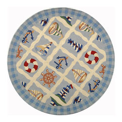 Safavieh - Hand-hooked Sailor Ivory Wool Rug (4' Round) - Add functional beauty to your home decor with a virgin wool rug  Novelty floor rug adds nautical style to any room in the house Area rug offers rich shades of ivory,blue,green,red and beige