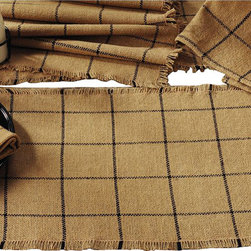 India Home Fashions - Burlap Check Table Runner, Natural - This Burlap Table Runner is available in a 13x36 or 13x54 and is the perfect way to complete any table setting. Natural Burlap looks great with any type of home decor and also coordinates with the new Burlap Star and Burlap Check home decor lines from India Home Fashions. Perfect for smaller tables.