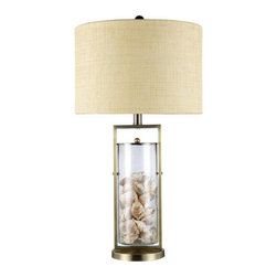 Dimond Lighting - Dimond Lighting D1978 Millisle Single-Light Table Lamp in Antique Brass and Clea - Features: