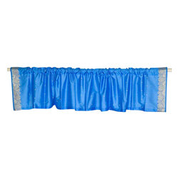 Indian Selections - Pair of Blue Rod Pocket Top It Off Handmade Sari Valance, 43 X 15 In. - Size of each Valance: 43 Inches wide X 15 Inches drop