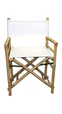 """Master Garden Products - Set of 2 Pieces Iron Bamboo Director Chair, White Canvas, 35""""H - Our foldable bamboo director chairs are ideal for both the indoors and outdoors, in your home or outdoor patio. Handcrafted with solid bamboo for excellent strength and beauty. These chairs are solidly built with no assembly required. These elegant chairs are ideal for seating in public establishments as well as casual use at home. They are available in a light bamboo color. Features a white canvas for both the seat and back support."""