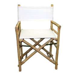 "Master Garden Products - Set of 2 Pieces Iron Bamboo Director Chair, White Canvas, 35""H - Our foldable bamboo director chairs are ideal for both the indoors and outdoors, in your home or outdoor patio. Handcrafted with solid bamboo for excellent strength and beauty. These chairs are solidly built with no assembly required. These elegant chairs are ideal for seating in public establishments as well as casual use at home. They are available in a light bamboo color. Features a white canvas for both the seat and back support."