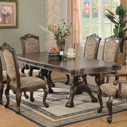 Coaster - Andrea Collection Dining Table in Brown Cherry - The impressive Andrea dining collection features rich carvings and fine accents. This large table group features a double pedestal table base and leaf that extends the table to accommodate extra guests. Crafted from poplar solids and cherry veneers. Finished in a brown cherry tone.