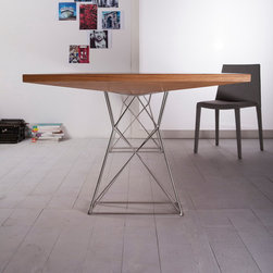 Modloft - Curzon 102in. Teka Dining Table - Table features stainless steel legs with uniquely angled wood table top. Seat from ten to twelve persons.