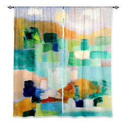 "DiaNoche Designs - Window Curtains Unlined - Laurie Mills Under the Birds - DiaNoche Designs works with artists from around the world to print their stunning works to many unique home decor items.  Purchasing window curtains just got easier and better! Create a designer look to any of your living spaces with our decorative and unique ""Unlined Window Curtains."" Perfect for the living room, dining room or bedroom, these artistic curtains are an easy and inexpensive way to add color and style when decorating your home.  The art is printed to a polyester fabric that softly filters outside light and creates a privacy barrier.  Watch the art brighten in the sunlight!  Each package includes two easy-to-hang, 3 inch diameter pole-pocket curtain panels.  The width listed is the total measurement of the two panels.  Curtain rod sold separately. Easy care, machine wash cold, tumble dry low, iron low if needed.  Printed in the USA."