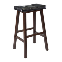 Winsome Wood - Winsome Wood Mona 29 Inch Cushion Saddle Seat Stool w/ Black Faux Leather - Update kitchen stools with this stylish Counter Saddle Stool with Black Faux Leather cushion seat. Solid wood base in Antique Walnut Finish. Ready to assemble. Barstool (1)
