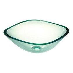 Pegasus - Pegasus Clear Square Glass Vessel Sink, Clear (SF-01) - Pegasus SF-01 Clear Square Glass Vessel Sink, Clear